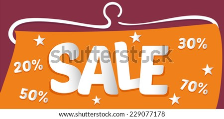 Vector banner sale. Discount of 20%, 30%, 50%, 70% - stock vector