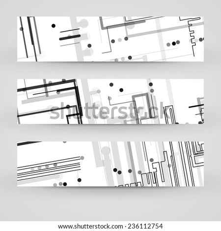 Vector banner set for your design, circuit board Illustration. - stock vector