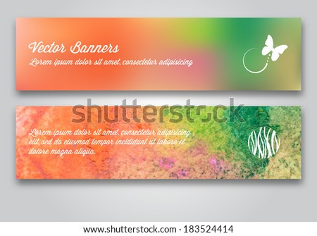 Vector banner set. Melted wax pencil background.
