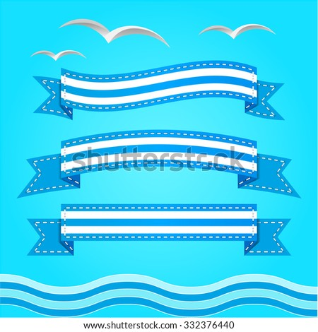 Vector banner set. Summer ribbons collection with wave.  - stock vector