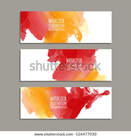 Vector banner shapes collection isolated on white background. Hand drawn abstract paint brush strokes set. Watercolor elements