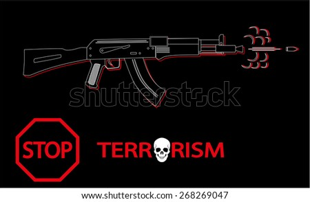 Vector banner - Stop Terrorism on a black background