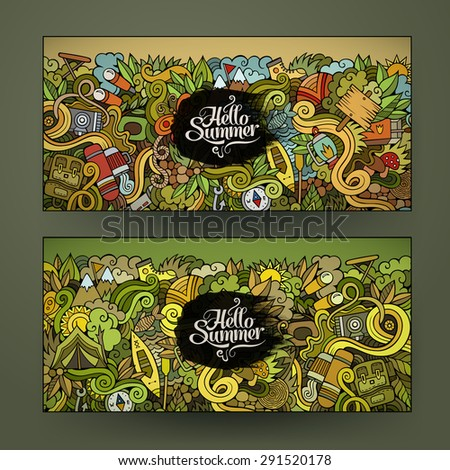 Vector banner templates set with doodles camping theme - stock vector