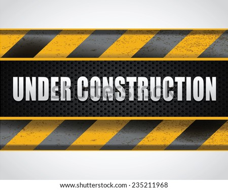 Vector banner, under construction sign
