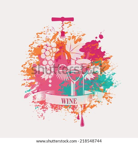 vector banner with a bottle of wine and grapes in spots and splashes - stock vector