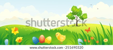 Vector banner with an Easter scenery - stock vector