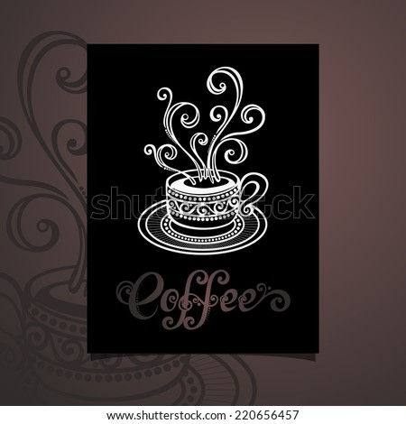 Vector Banner with Decorative Cup of Coffee with Steam. Coffee Design