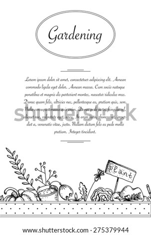 Vector banner with different garden elements. Great for your Wedding, Birthday and different party design. - stock vector