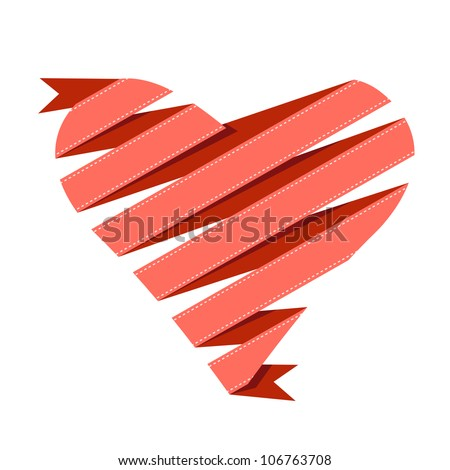 Vector banner with heart made from red paper ribbon. Origami modern simple background with text box for presentation. Original greeting and invitation card Valentines Day and wedding. - stock vector