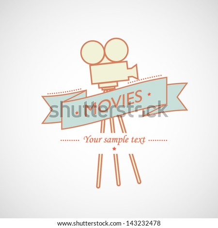 Vector banner with retro film projector - stock vector