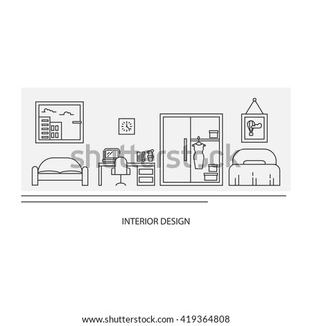 Vector banner with thin line icons. Interior decoration elements, living room, furniture and decor for apartment. Women's room concepts with bed, work place, wardrobe, sofa.  - stock vector