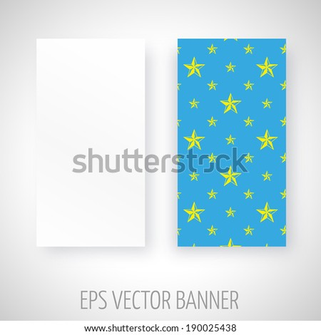 Vector banner with yellow stars decoration over blue background