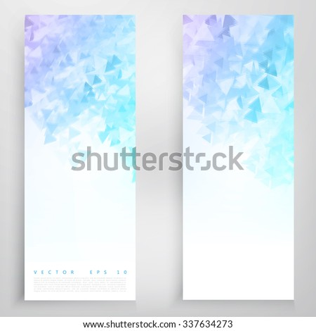 Vector banners and triangles. Color flyer background