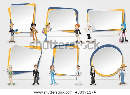 Vector banners / backgrounds with cartoon business people. Design text box frames. Professionals. - stock vector
