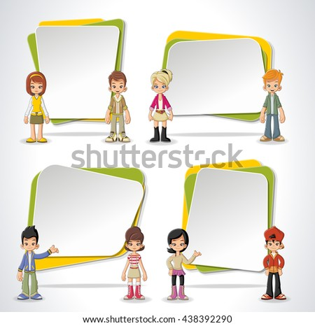 Vector banners / backgrounds with cartoon children. Design text box frames.