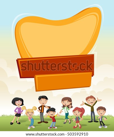 Vector banners backgrounds with cartoon family. Design text billboard.
