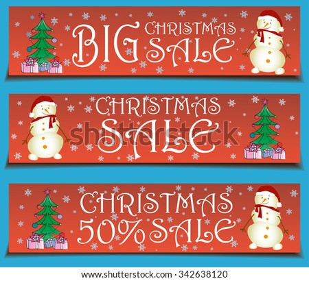 Vector banners Christmas sale ,xmas tree and snowman ,vector illustration