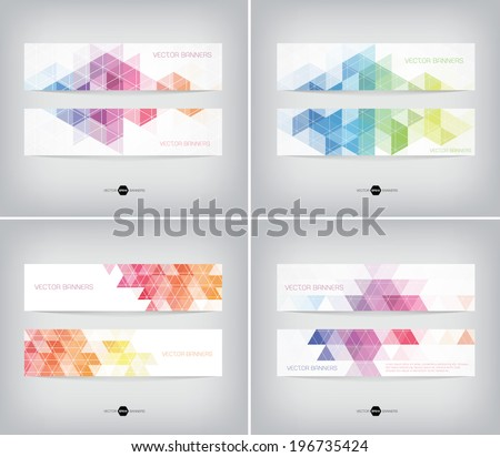 Vector banners collection with abstract multicolored polygonal mosaic backgrounds. Modern geometric triangular patterns. Business design templates.  - stock vector