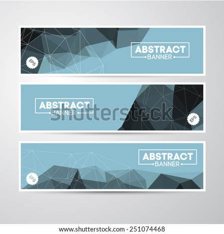 Vector Banners Collection with Abstract Polygon Mosaic Backgrounds. Modern Geometric Triangular Patterns Template. Business design or Web. - stock vector
