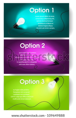 Vector banners for text with light bulb - stock vector