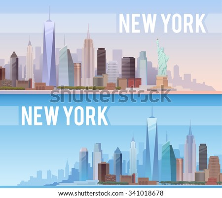 Vector banners of the urban landscape of New York. Cityscape. Skyline. Flat design. - stock vector