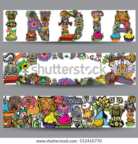 Vector Banners Set Hand Drawn Indian Stock Vector 2018 552410770
