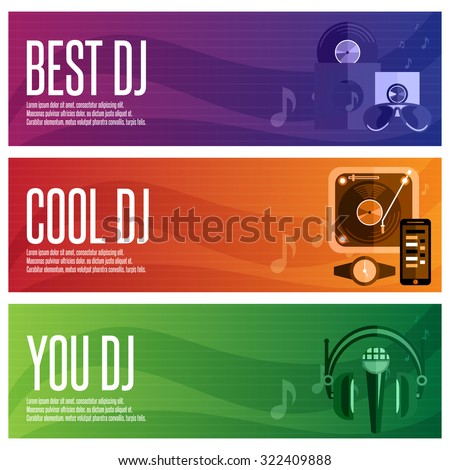 vector banners set of dj and music theme - stock vector