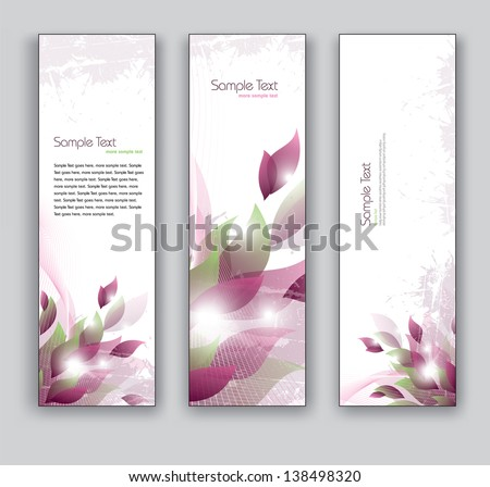 Vector Banners. Set of Three. Abstract Floral Backgrounds in Eps10 Format. - stock vector