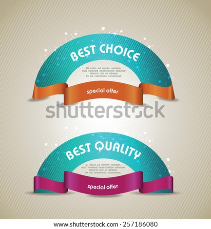 vector banners set Quality  Ribbons, Labels, Tags. Retro vintage style - stock vector