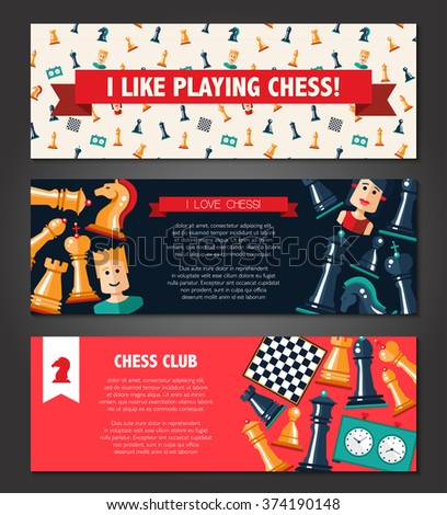 Vector banners set with flat design chess and players icons  - stock vector