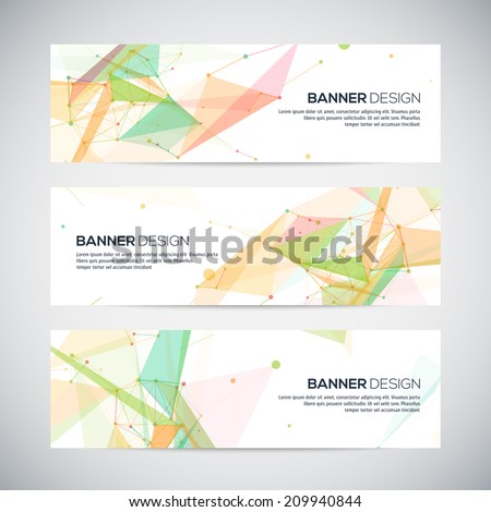 Vector banners set with polygonal abstract shapes, with circles, lines, triangles - stock vector