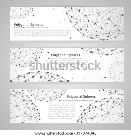 Vector banners set with wireframe mesh polygonal spheres. Network design, technology science, vector illustration - stock vector