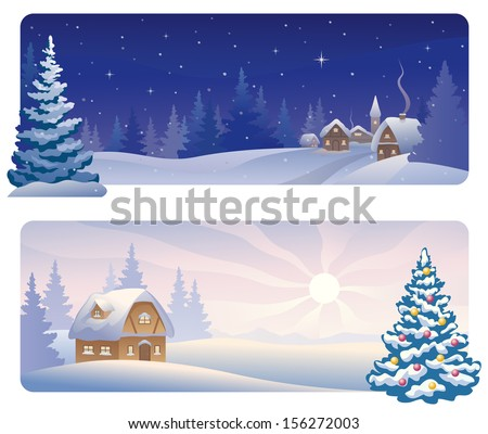 Vector banners with a snowy night village and a xmas morning house