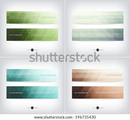 Vector banners with abstract light background. Subtle geometric texture. Eps10. - stock vector