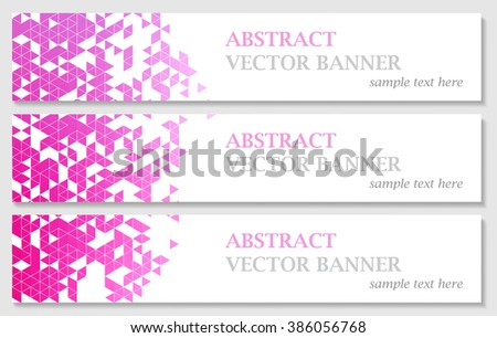 Vector banners with abstract multicolored polygonal mosaic background. Modern geometric triangular pattern. Business design template. EPS 10 - stock vector