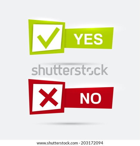 Vector banners with check marks confirmation, acceptance positive passed voting agreement true and form of access  denial, refusing - stock vector