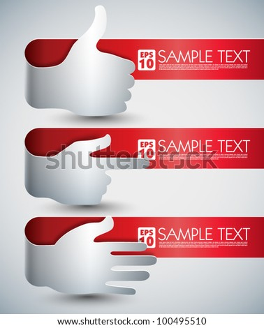 Vector Banners with Hand Signs and Your Messages - stock vector