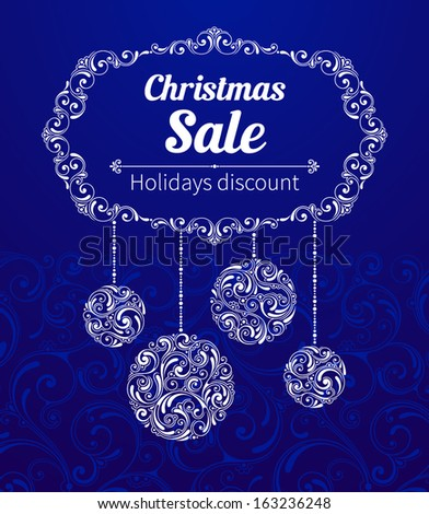 Vector banners with illustration of Christmas/New Year decor. Design elements of ornamental style. Christmas sale, holidays discount
