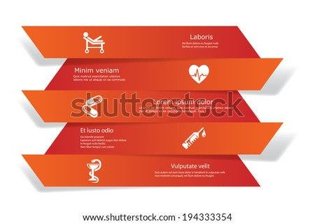 Vector banners with medical and healthcare icons. - stock vector