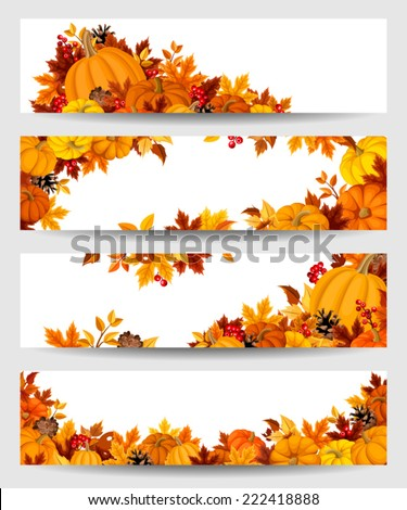 Vector banners with orange pumpkins and autumn leaves. - stock vector