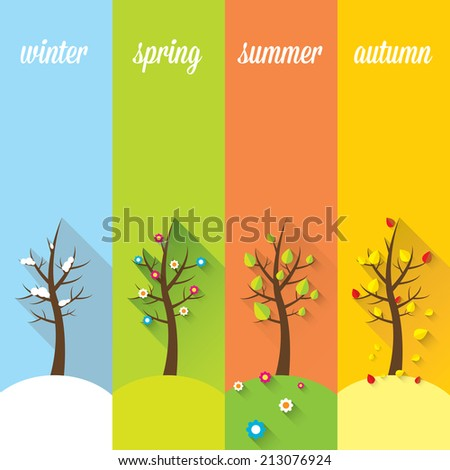 vector banners with winter, spring, summer, autumn trees.