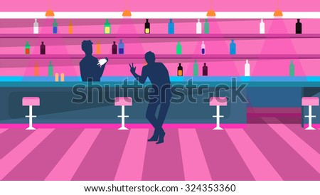 Vector bar bartender and visitor - stock vector
