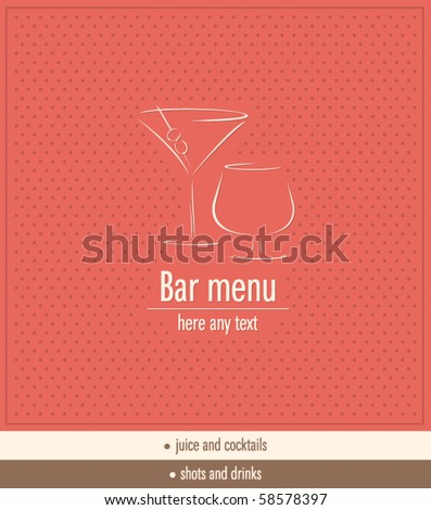 Vector. Bar menu design - stock vector
