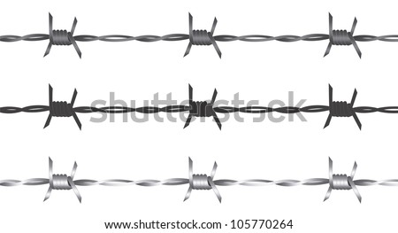 vector barbed wire over white background