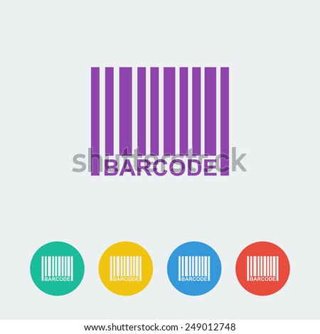 Vector barcpde flat circle icon - stock vector