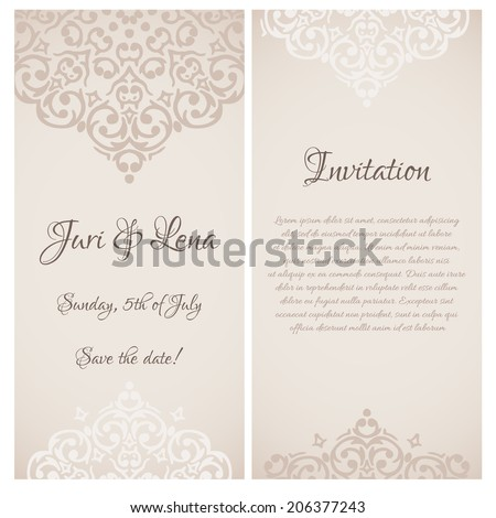 Vector baroque damask wedding invitation banners stock vector vector baroque damask wedding invitation banners with a place for your text stopboris Image collections