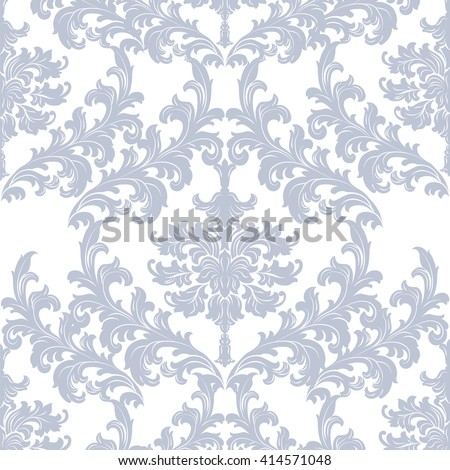 Vector Baroque floral Damask pattern element background. Luxury Classic Damask ornament, royal Victorian texture for wallpapers, textile, fabric - stock vector