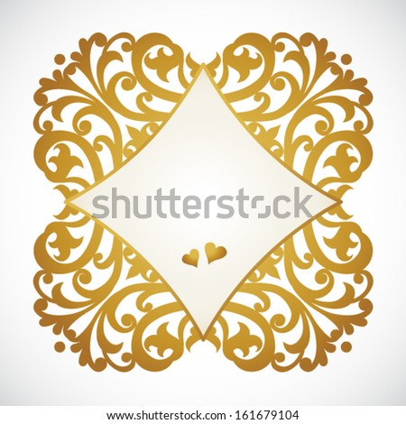 Vector baroque frame in Victorian style. Element for design. You can place the text in an empty frame. It can be used for decorating of invitations, greeting cards, decoration for bags and clothes.