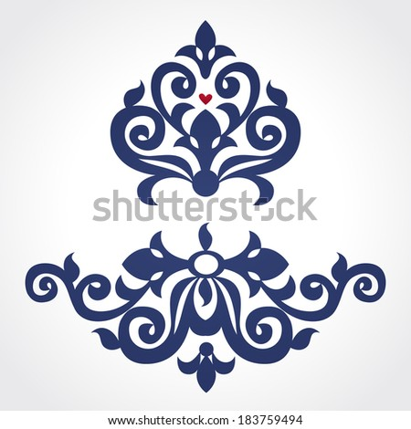 Vector baroque ornament in Victorian style. Ornate element for design. Floral vignette for wedding invitations, greeting cards, decoration for bags, tattoo creation. Traditional decor. - stock vector