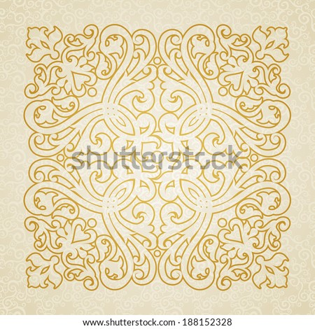 Vector baroque ornament in Victorian style. Ornate element for design. Toolkit for designer. Golden ornamental pattern for wedding invitations and greeting cards. Traditional floral decor. - stock vector